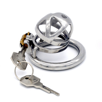 FAAK Stainless Steel Male Chastity Devices Cock Cage Curved ring Lockable Sex Toys for Men 3 Size Penis Ring 45 mm Cock Lock gay chastity device cock cage 5 size rings sex products for men brass lock number tags sex toys cock ring male chastity belt