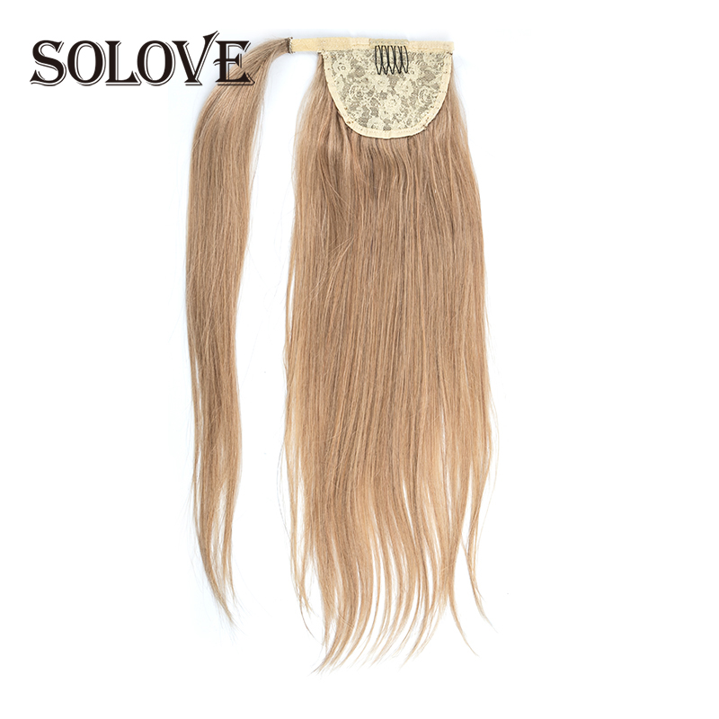 Ponytail Human Hair Machine Remy Straight European Ponytail Hairstyles 80g 100% Natural Hair Clip In Extensions