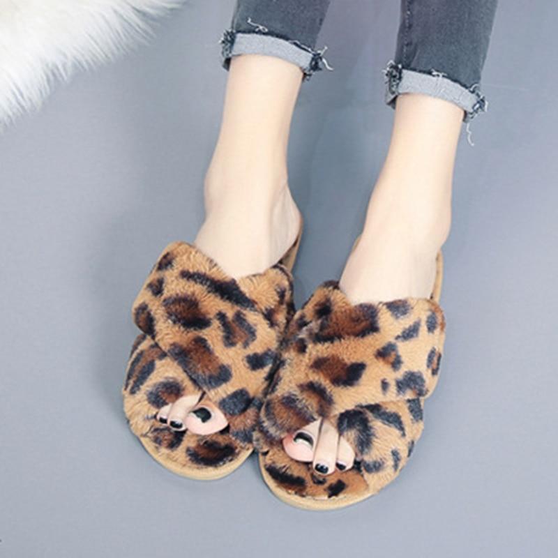 SWQZVT Leopard print women slippers non-slip house furry ladies slippers shoes 2020 open toe flat indoor fur slides for women (23)