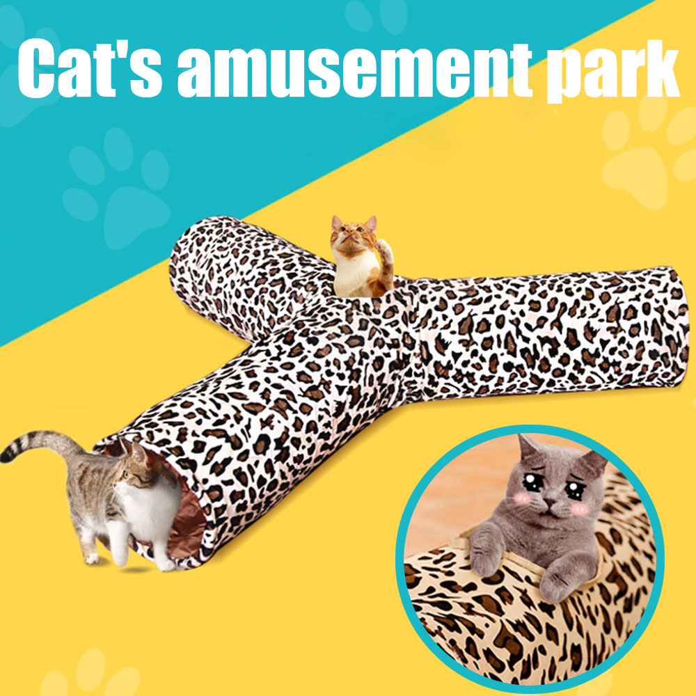 3 Way Cat Tunnel Pet Tube Collapsible Play Toy for Puzzle Exercising Hiding Training Kitten Puppy Toy image