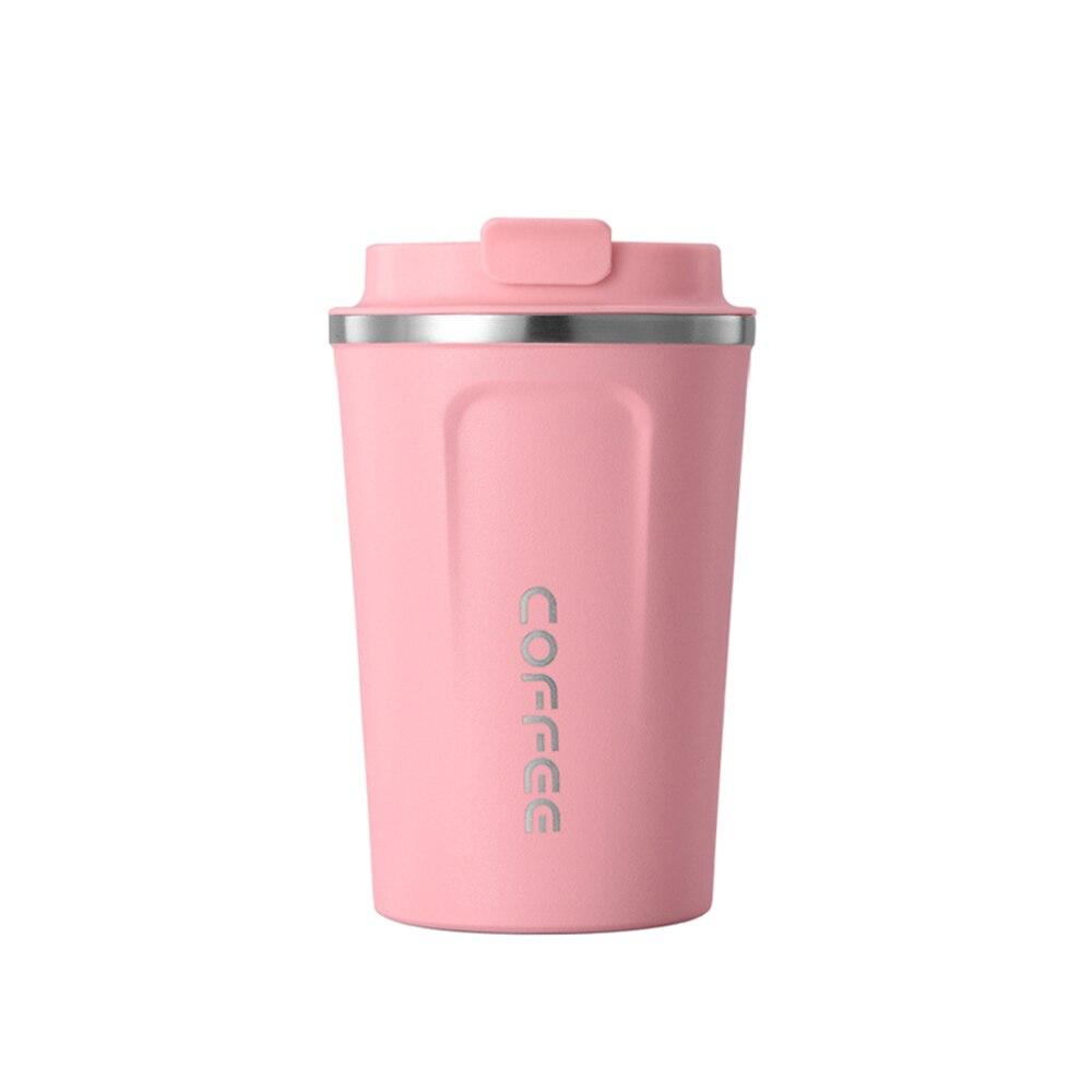 SOLEDI, 304, нержавеющая сталь, кофейная кружка с крышкой, с изоляцией, для молока, воды, чая, чашка, герметичная, для путешествий, термос, колба, 380 мл, 510 мл - Цвет: Pink