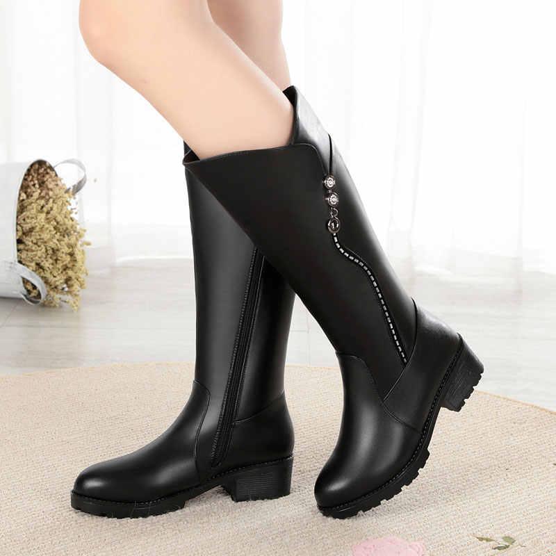 GKTINOO באיכות גבוהה הברך גבוהה מגפי נשים עור אמיתי חורף מגפיים נוח חם צמר נשים של ארוך מגפי נעליים