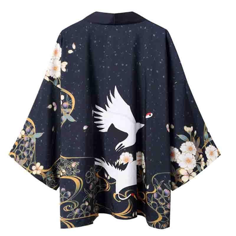 Oversize Robe Gown Men Hip Hop Yukata Harajuku Kimono Shirt Japanese Style Kimono Male Satin Casual Black Print Kimono Cardigan
