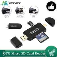 WVVMVV OTG Lector de Tarjetas Micro SD USB 3,0 lector de tarjetas 2,0 para USB Micro SD adaptador, Flash Drive tarjeta de memoria inteligente lector de tipo C