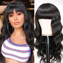 Black Pearl Body Wave Human Hair Wigs With Bangs Full Machine Made Wigs  Blonde Wig Colored Wigs Orange Peruvian Remy Hair Wig