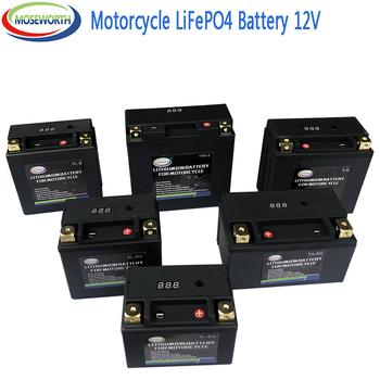 Akumulator motocyklowy 12V LiFePO4 jon fosforanu litu z ochroną napięcia BMS dla BMW Halley Augusta KTM Honda Suzuki Yamaha tanie i dobre opinie MOSEWORTH CN (pochodzenie) 14 5cm 15cm Lithium ion LiFePO4 Akumulator do motocyklu 1 4kg Motorcycle Battery under 2kg LiFePO4 Battery