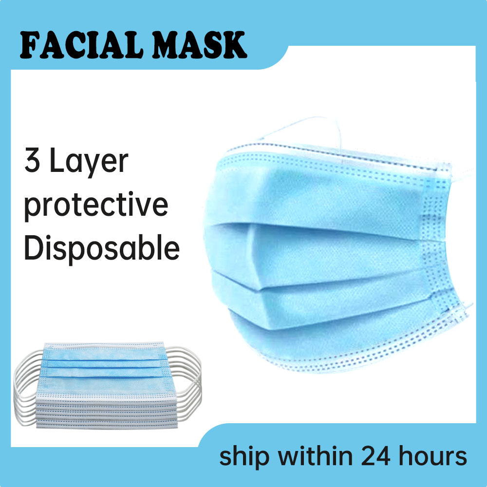 CC Face Mask Disposable Mouth Masks 3 Layer Non Woven Health Maske Breathable Safe Elastic Masque In Stock Masker Fast Shipping