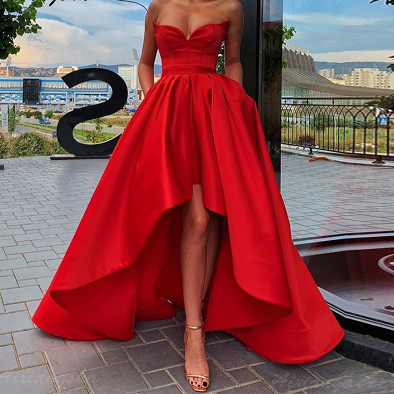 High-low Plus Size Satin Prom Party Evening Dresses Vestido De Noiva Sereia Gown Robe De Soiree Frock 2020 Pleat Strapless