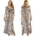 Leopard Print Badeanzug Cover up Plus größe Böhmischen Maxi Kleid Pareos de playa Mujer Kaftan Kleid Sarong Tunika für Strand bademode