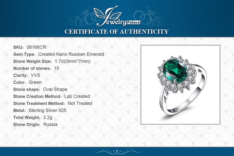 H19e2c01c6ef34cadb039bff45816ddddh JewPalace Princess Diana Simulated Emerald Ring 925 Sterling Silver Rings for Women Engagement Ring Silver 925 Gemstones Jewelry