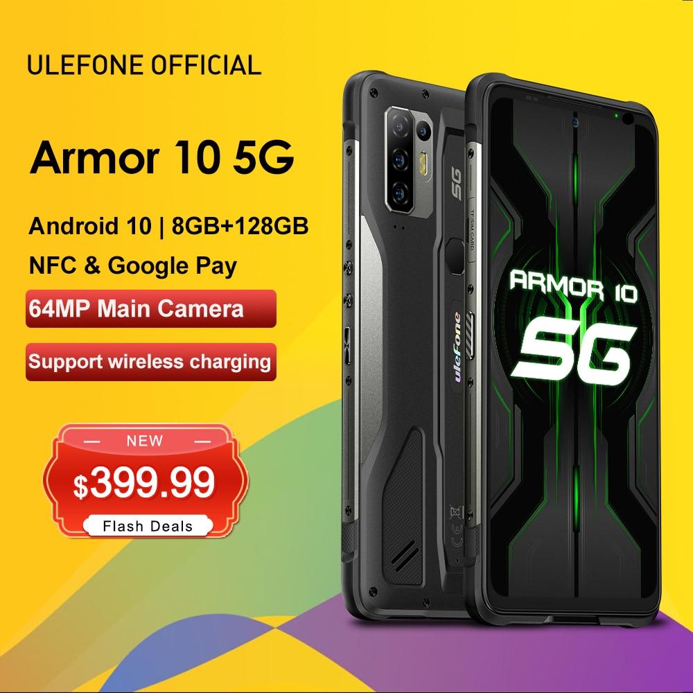 "Ulefone armadura 10 5g áspero telefone celular android 10 8gb + 128gb à prova dwaterproof água smartphone/ip68 ip69k/6.67 ""/64mp câmera telefones celulares"