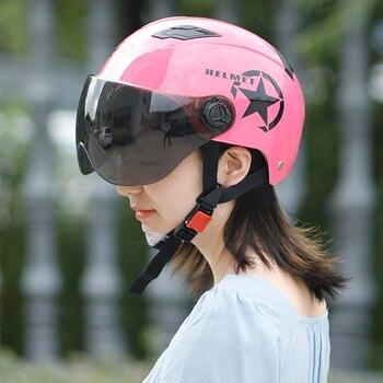 цена на Motorcycle Helmet Half Electric Bicycle Scooter Motorbike Moto Bike Helmet Motocross Helmet Protect For Men Women Summer Helmet