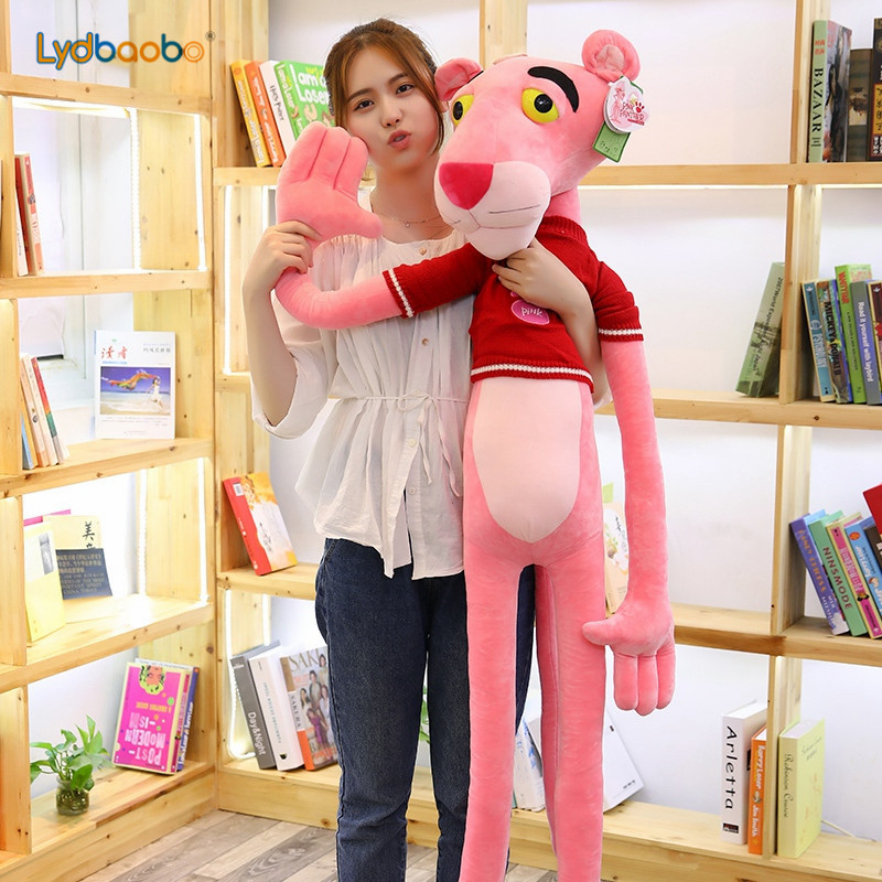 LYDBAOBO 1PC Giant Kawaii Pink Panther Leopard Action Figure Plush Toys Stuffed Pink Panther With Sweater Kid Doll Birthday Gift