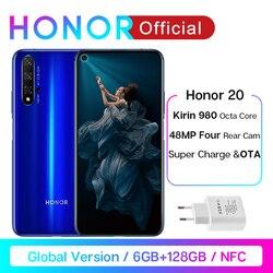 Em estoque versão global honra 20 smartphone 6g128g kirin 980 octa core 6.26 484848mp quatro cam celular google play supercharge nfc