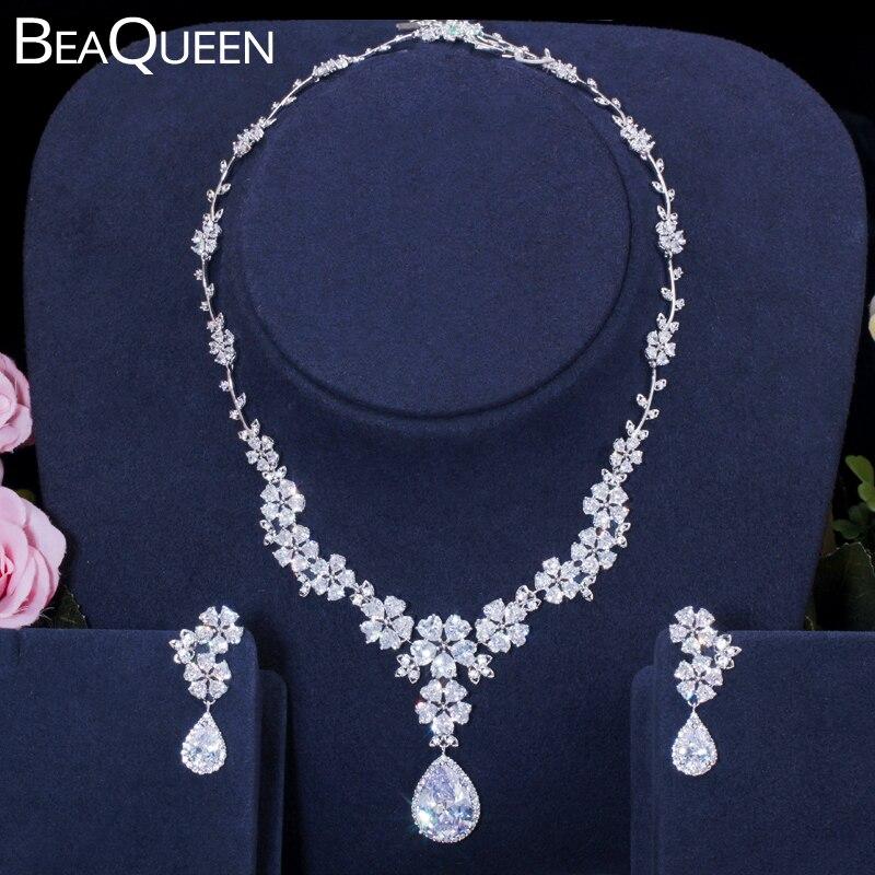 BeaQueen Exclusive Flower Leaf Water Drop Cubic Zirconia Women Wedding Dress Earrings Necklace Jewelry Sets Bijoux Femme JS062