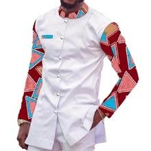 African Print Shirt Men Stand Collar Tops Custom Made Mens Ankara Outfit White&Wax Patchwork Dashiki Man Africa Clothing