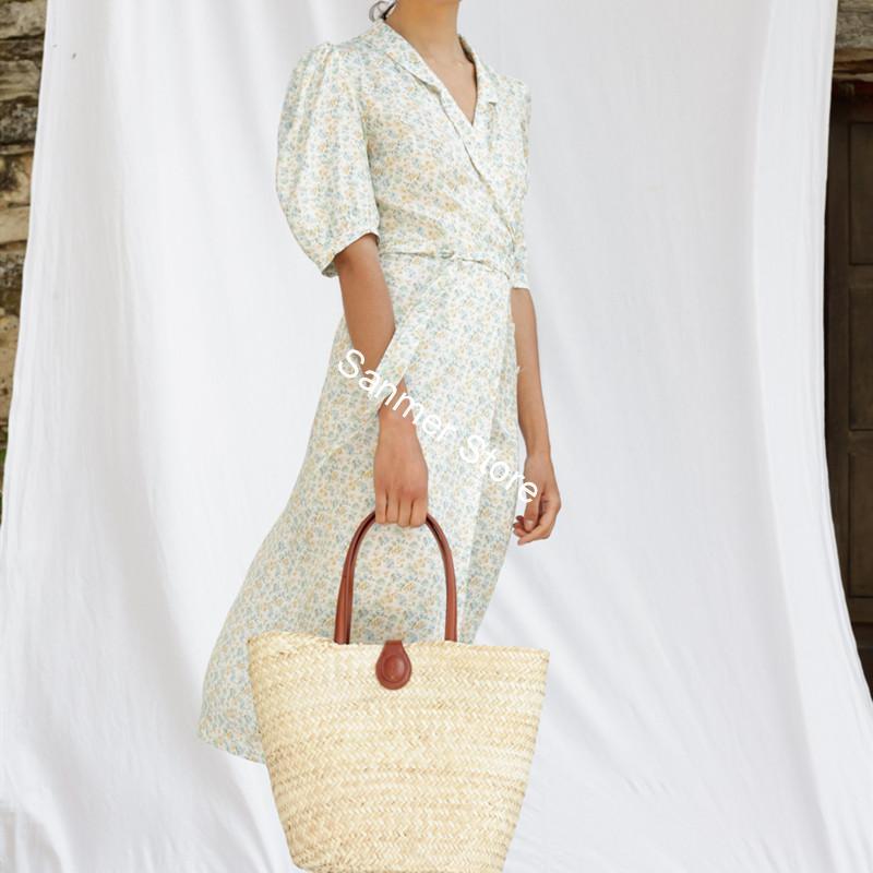 Женское платье средней длины с v образным вырезом, коротким пышным рукавом, цветочным принтом и пуговицами, весна лето|Платья|   | АлиЭкспресс