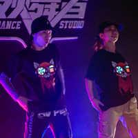 Panda Rojo LED luz Electro luminiscente EL sonido activado Control acústico resplandor camiseta luz ecualizador ropa para fiesta