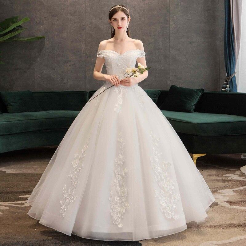 Fashion Lace Appliques Ball Gown Cheap Wedding Dresses 2019 Off The Shoulder Elegant Plus Size Vestido De Noiva Bride
