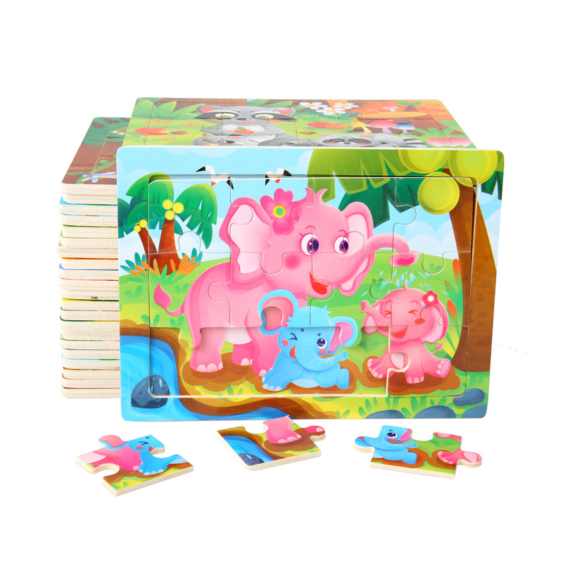 12 Slice Wood Puzzles Children Adults Vehicle Puzzles Wooden Toys Learning Education Environmental Assemble Educational Games