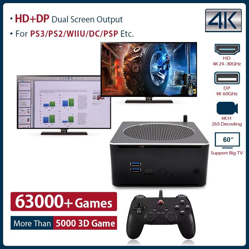 סופר קונסולת X תיבת מיני מחשב רטרו משחק קונסולת WIN 10 פרו ומשחקים כפולה מערכת עבור PS2/WII/PSP/N64/SEGA לבנות 63000 + משחקים