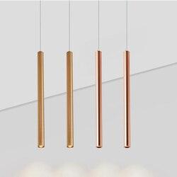 Hartisan suspension lampe Droplight LED plafonnier pour salle à manger cuisine décoration Long Tube cylindre tuyau aluminium 3W laiton