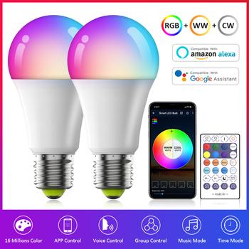 WiFi inteligentna żarówka żarówka E27 lampa LED z możliwością ściemniania zmiana koloru RGB ciepły zimny biały 110V 220V APP zdalna kompatybilność Alexa Google Home tanie i dobre opinie EdaGyee CN (pochodzenie) ROHS 2700K ~ 6500K SALON 100~240V 500-999 lumenów Globe 20000 118mm Żarówki LED 120 ° RGBCW