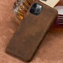 Funda de cuero genuino para iPhone, carcasa Retro de Caballo loco para iPhone 12 Mini 12 Pro Max X XR XS 11 Pro MAX 6 5S 6s 7 8 Plus SE 2020