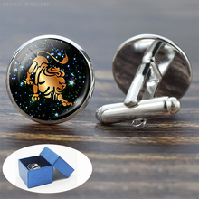 12 Constellation Glass Alloy Cufflinks Leo Pisces Zodiac Sign Handmade Silver Suit Cuff Links Men Shirt Birthday Gift