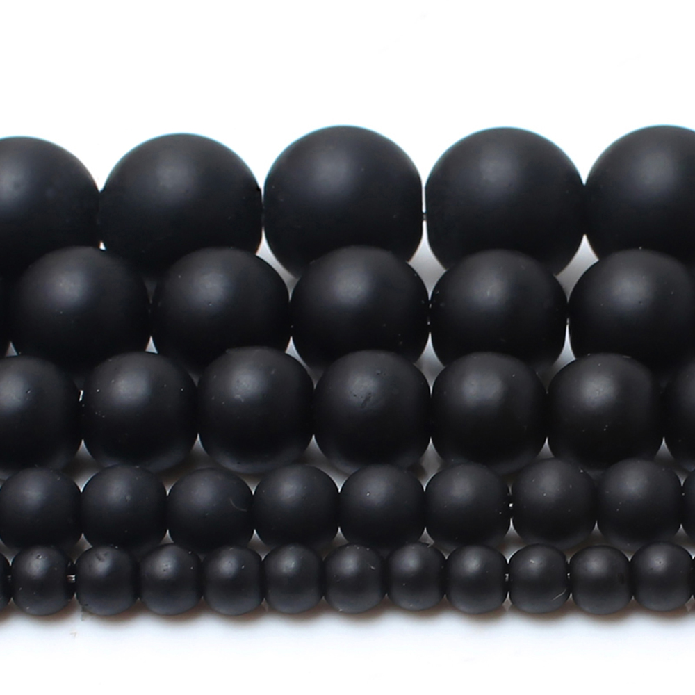 4/6/8/10/12 mm AAAA Natural Quality Black Polish Matte Onyx Agates Round Beads 15
