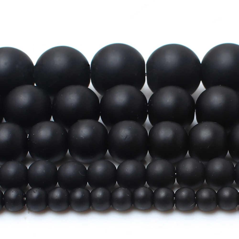 """4/6/8/10/12mm AAAA naturalna jakość czarny polski matowy Onyx agaty kule 15 """"Strand Pick rozmiar na tworzenie biżuterii"""