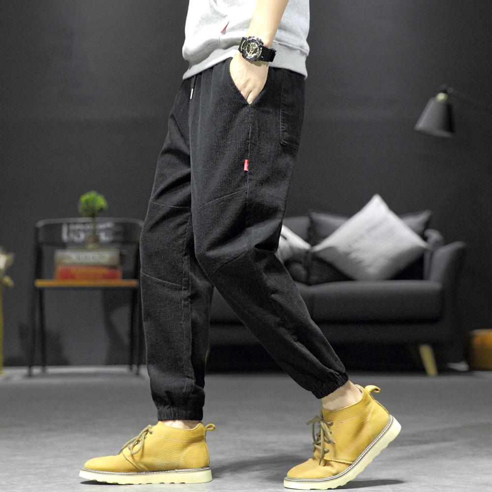 Streetwear Plus Size Baggy Harem Pants Men Jogger Hombre Corduroy Sweatpants Black Techwear Fashion Trousers
