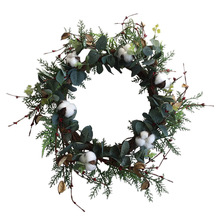 Cotton Wreath Floral Round Artificial Leaves for Outdoor Indoor Wedding Decor Plastic 50cm Decoration Dropshpping S27