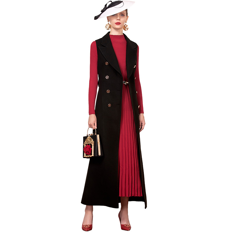 Office Lady Black Long Vest  Europen Style Double Breasted Coat with Belt  Sleeveless Jacket Outwear Casual Top DZ2279