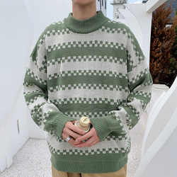 Winter Sweater Men Warm Fashion Contrast Color Casual Knit Sweater Man Sweter Clothes Loose Long-sleeved Pullover Male Clothes