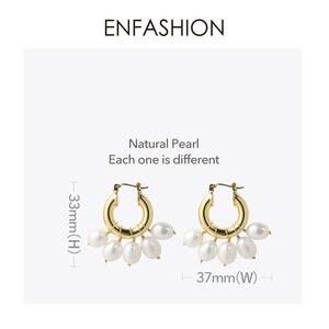Image 4 - ENFASHION Natürliche Perle Hoop Ohrringe Für Frauen Gold Farbe Nette Kleine Kreis Hoops Ohrringe Modeschmuck Ohrringe E191117