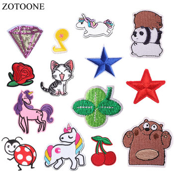 ZOTOONE Unicorn Planet Things Iron on Patches for Clothing Embroidery Stripe Clothes Cute DIY Sequin Applique Badge  H
