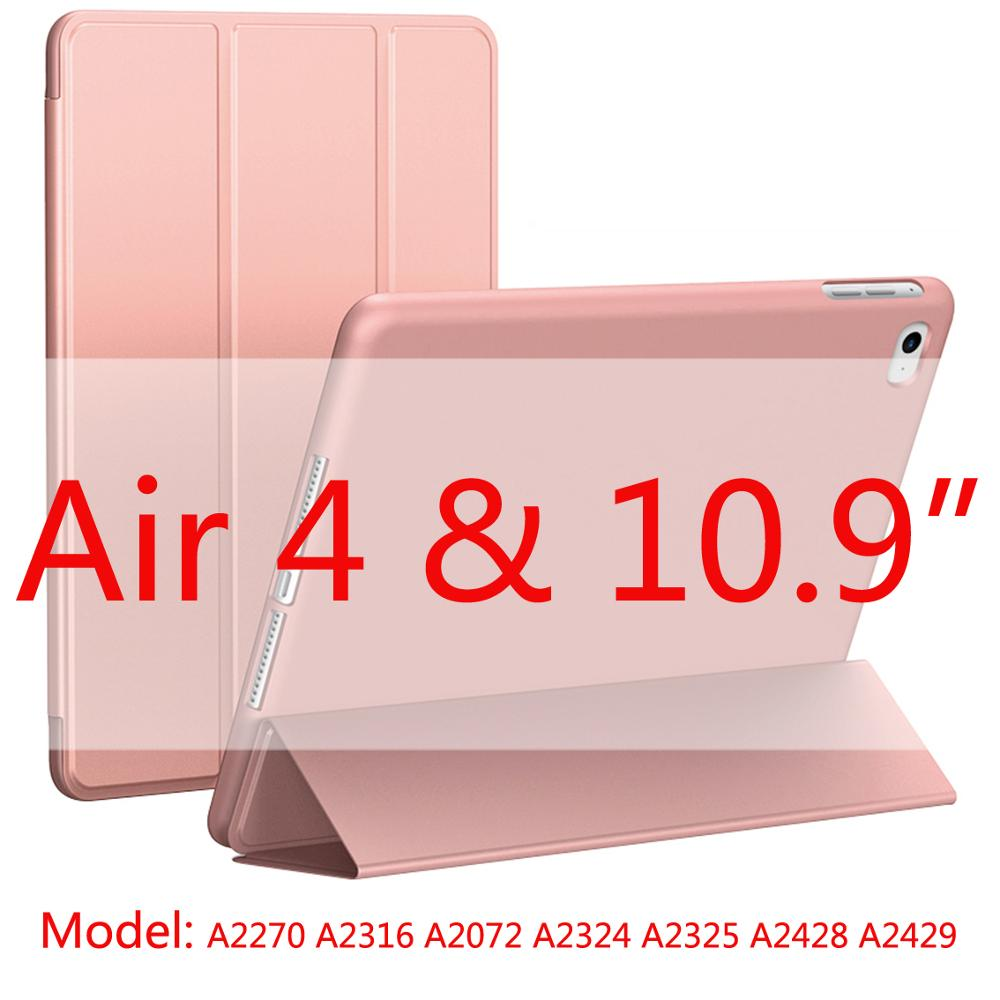 Rose gold-Air4 Other 2020 New Soft Silicone Case For ipad Air4 with Smart Sleep Wake Funda Capa Case for