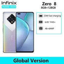 Nova versão global infinix zero 8 8gb 128gb telefone inteligente 6.85 90 90 90hz tela cheia 64mp quad câmera 4500mah bateria 33w carregador