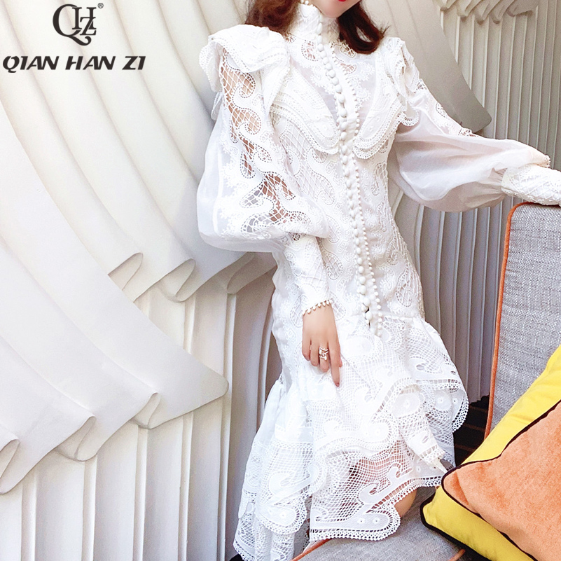 Qian Han Zi 2020 Runway Fashion Designer Women Dress Lace Ruffled Elegant Hollow Out Party Dresses