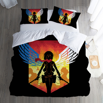 Attack on Titan Japanese Anime Bedding Twin Full Queen King Single Double Size Duvet Cover Pillowcase Teenage Bedroom Textiles