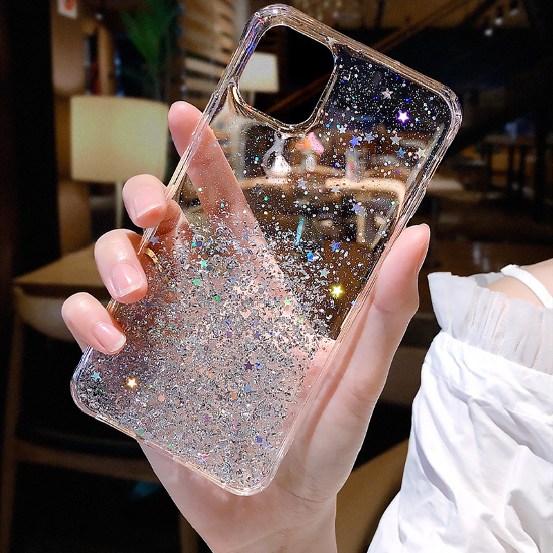 Glitter Powder Star Phone Cover For Iphone 11 Pro X XR XS Max Soft Back Case For Iphone 7 8 6S Plus Epoxy Bling Phone Case
