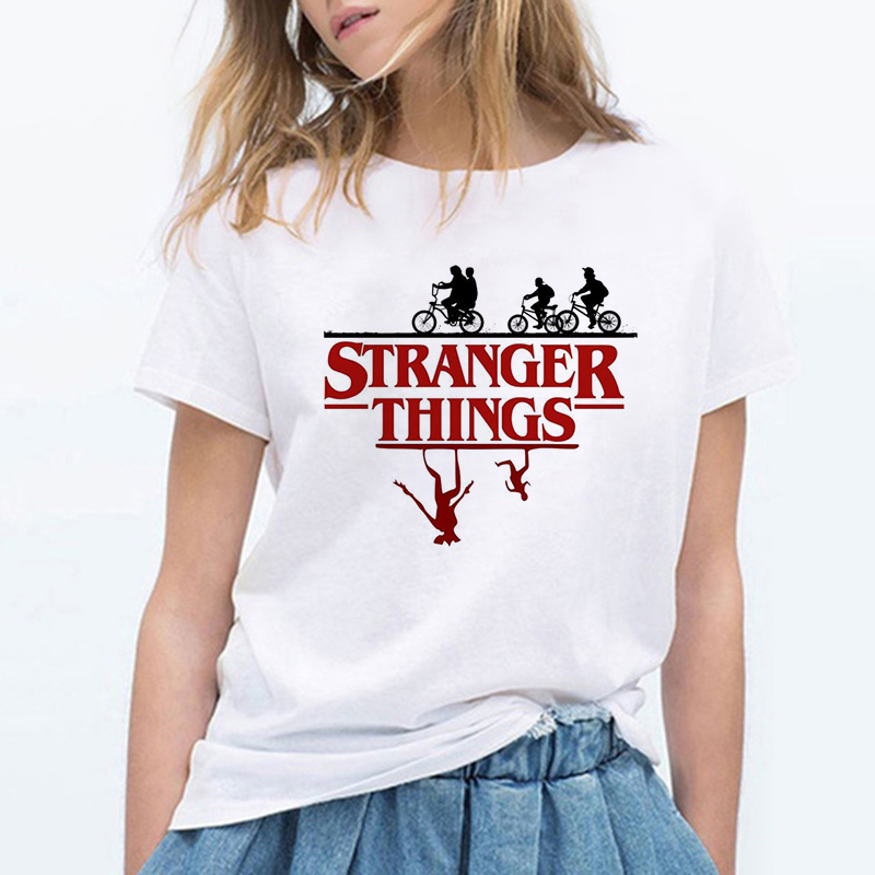 Harajuku Female T Shirt Cartoon Stranger Things Printed Ins Letter Short-sleeved Harajuku Summer Women's New Ins Fashion Casual