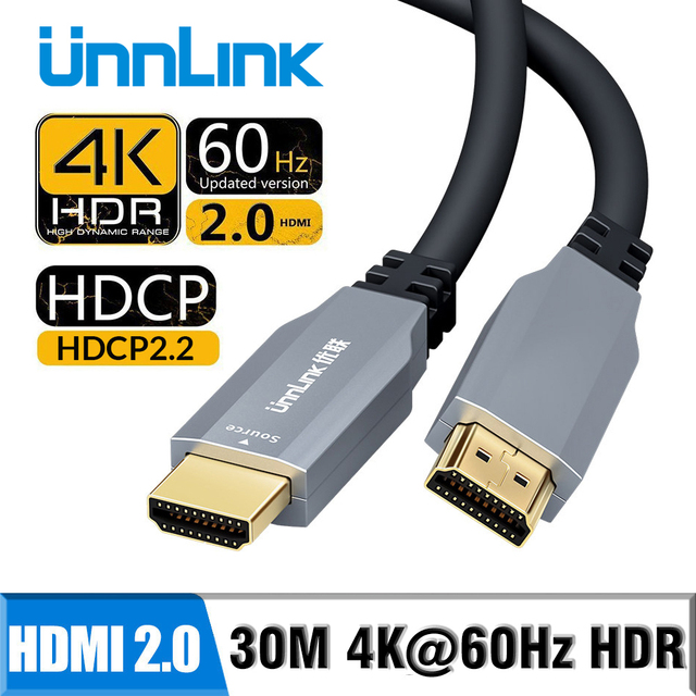 Unnlink Optical HDMI Cable Fiber HDMI 2.0 Cable 4K 60Hz 10m 15M 20m 30m for HD LED TV Laptop PS4 XBOX Projector Splitter Switch