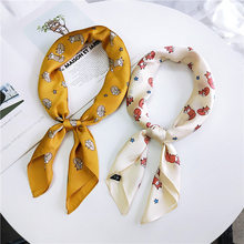 70*70cm New Elegant Women Silk Scarf Foulard Print Fox Head Neck Bandana Hair Tie Band Bufanda Mujer Small Vintage Square Scarf(China)