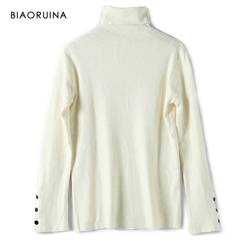 Biaoruina 여성 캐주얼 솔리드 올 매치 얇은 니트 터틀넥 스웨터 여성 기본 편안한 패션 풀오버 new arrival