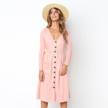 Robe trapèze en coton, col en v, couleur unie, poches sauvages, manches longues, longueur aux genoux, robe automne femme 1