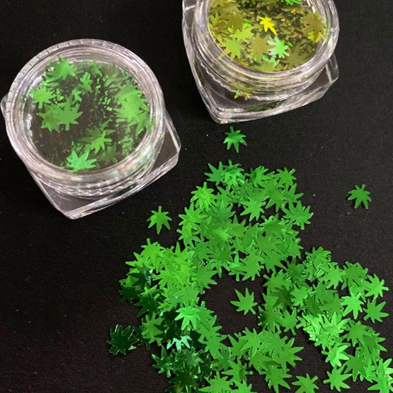 Голографические наклейки для ногтей с зелеными листьями, блестящими листьями и травой, 3d-гель в форме травы, акриловые украшения для дизайн...