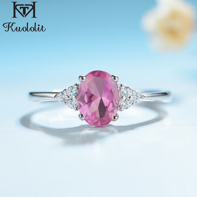 KE004P Solid 925 Sterling Silver Rings For Women Created Pink Ruby Emerald Gemstone Ring Wedding Engagement Band Jewelry Gift