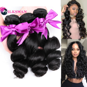 Silkswan Loose Wave Hair Bundles 30 32 34 36 Inch Bundles Brazilian Remy Hair Weaves Double Weft Human Remy Hair Extensions